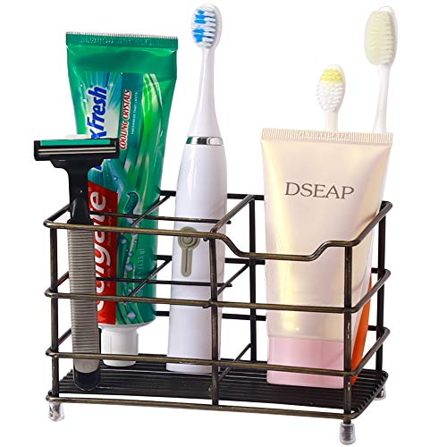 Dseap Toothbrush Holder, Electric Toothbrush Holder - Stainless Steel Tooth Brush Holder, Toothpaste Holder Organizer Stand Caddy for Bathroom, Bronze
