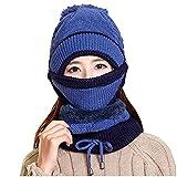 URIBAKY - Conjunto de bufanda de invierno para mujer, gruesa, tejido, sombrero, bufanda para la cara al aire libre, 3 piezas, b, Talla única
