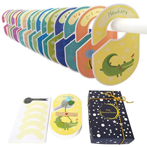 MOBU Divisores para armario de bebé, juego de lujo de 24 piezas, divisores para armario de bebé, separadores de tamaño para ropa de bebé, organizadores/perchas divisores