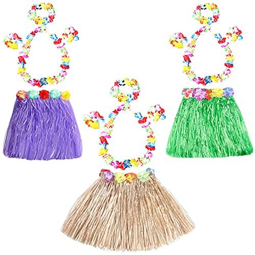 Faldas Hierba Accesorios de Fiesta Faldas Hierba Fiesta de Cumpleaños Faldas Hierba Elástica Flores Faldas Hierba Falda Hawaiana para Fiestas de Disfraces,Cumpleaños,Playa Fiestas,Regalo de Cumpleaños