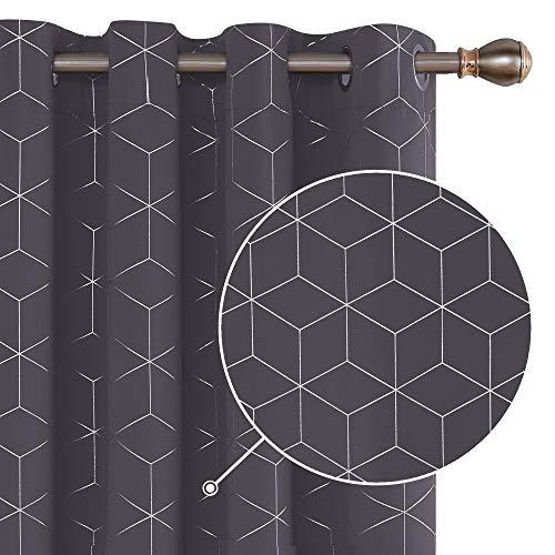 Deconovo Verdunklungsvorhang Ösen Vorhang Blickdicht Gardinen Muster 229x132 cm Dunkelgrau 2er Set
