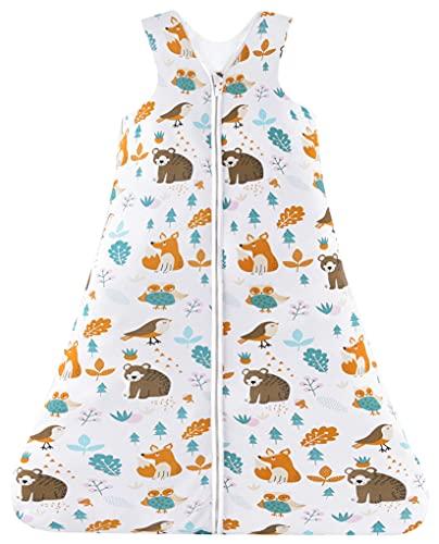 Chilsuessy Sommerschlafsack Baby Schlafsack Kleine Kinder Schlafanzug ohne Ärmel für Sommer und Frühling 100% Baumwolle (90/Baby Höhe 90-105cm, Waldtiere)