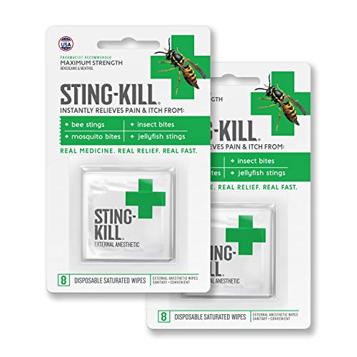 Sting-Kill First Aid Anesthetic Wipes, Instant Pain + Itch Relief from Bee Stings and Bug Bites, 8-Count (Pack of 2)