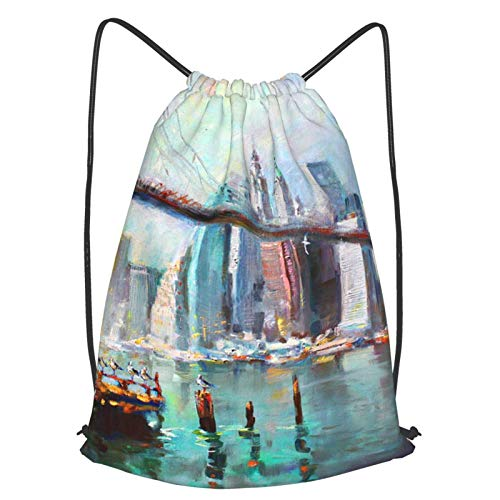 GYYbling drawstring bags Ny City Brooklyn Bridge Drawstring Backpack,Beam Mouth School Travel Backpack Lightweight Rucksack Shoulder Bags For Men & Women