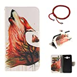 GOCDLJ Samsung Galaxy On5 2015 G5500 Hülle PU Leder Flip Cover Tasche Ledertasche Handytasche Schutzhülle Handyhülle Case Etui Wallet Messer Form Magnetverschluss Shell Design Brüllender Wolf
