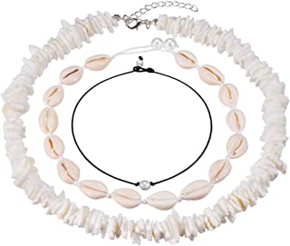 Valyria Cowrie Shell Choker Necklace for Women Adjustable Puka Chips Shell Surfer Choker Necklace Jewelry Set Pearl Cord Necklace
