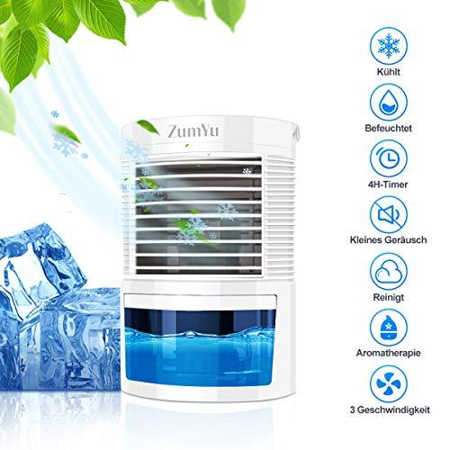 Mansso Mini Enfriador Portátil Aire Acondicionado con 5 en 1 Ventilador Purificador Humidificador Luces Nocturnas de 7 Colores, 3 Velocidades Ajustable y Gran Capacidad de 400ML para Hogar Oficina