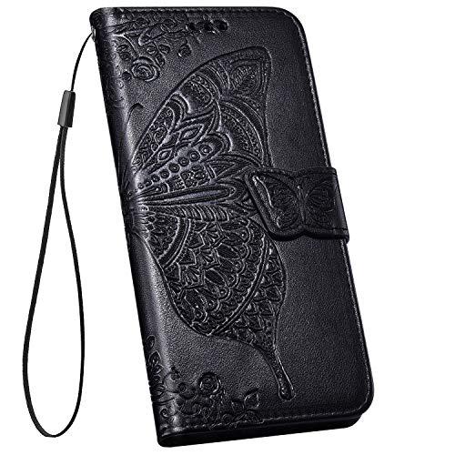 Ysimee kompatibel mit iPhone 11 Hülle 3D Bookstyle PU Leder Schutzhülle Wallet Flip Ledertasche Case Handyhülle Lederhülle Handy Tasche Schale [Standfunktion] [Kartenfach], Schwarz