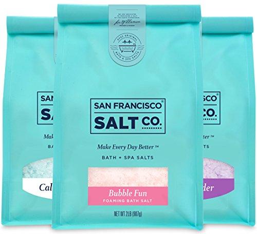 Best Sellers Luxury Bag Bundle - Sleep Lavender, California Breeze, Bubble Fun Foaming Bath Salts (2 lb. bag of each) by San Francisco Salt Company