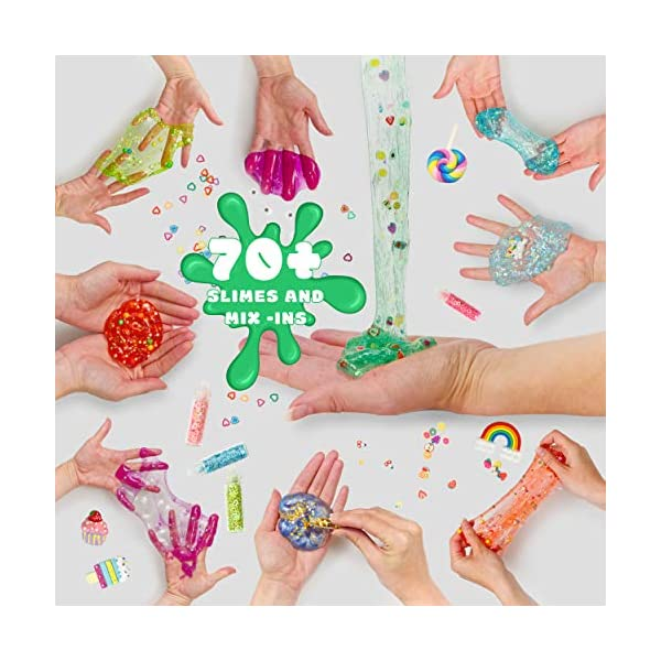 DIY Slime Kit for Girls Boys Aged 5-12 Glow in the Dark Slime Making Kit for Girls' Parties, 18 colors Unicorn Slime Kit for Girls with Beads, Sequins, Hearts and More, Gift Slime Kits for Girls Boys 8