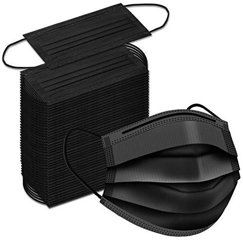 Black Disposable Face Masks, 100 Pack Black Face...