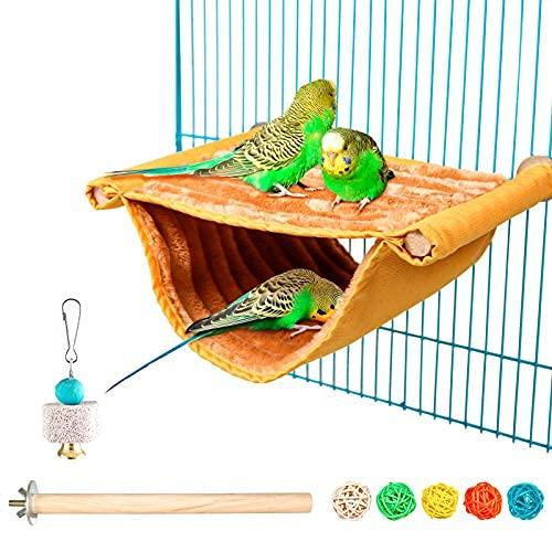 Casa de nido de pájaro para invierno, casa de loro cálida, hamaca para tienda de campaña de juguete jaula para pájaros perca para loros periquitos periquitos