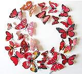 Cestlafit Etiqueta Engomada De La Pared De La Mariposa De La Manera 3D, Mariposa De La Simulación del PVC para La Decoración Casera, Decoración De La Pared, Paquete 24, Rojo