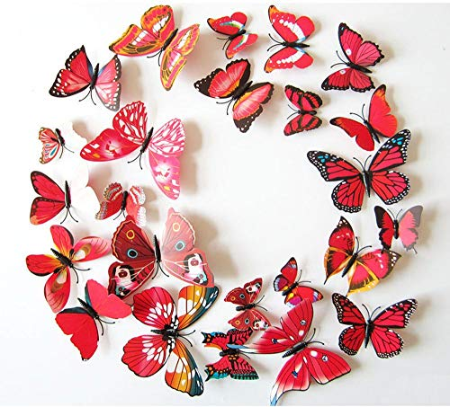 Cestlafit 3D Fashion Butterfly Wall Sticker, PVC Simulation Butterfly For Home Decor, Wall Decoration, 24 Pack, Red