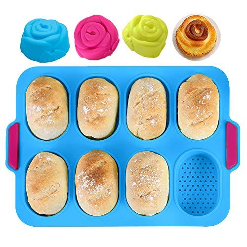 KeepingcooX® Mini Plateau de cuisson pour mini-baguettes, 34 x 24 cm, poêle perforée anti-adhésive - Plateau à pain croustillant, moule de cuisson de pain, Le forfait comprend mini moules à roses