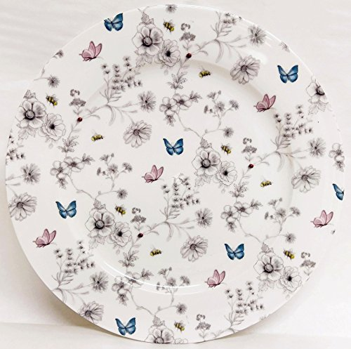 fromeuropewithlove Secret Garden Plates 10.5' 27 cm Set of Six Fine Bone China Flowers Butterflies and Bees Dinner Plates Hand Decorated in UK