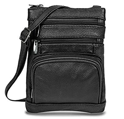 Womens Genuine Leather Handbag Cross Body Purse Messenger Bag with Multi-Pockets, Adjustable Strap