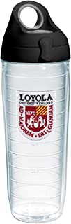 Tervis Loyola Ramblers Logo Insulated Tumbler with Emblem and Black with Gray Lid, 24oz Water Bottle, Clear