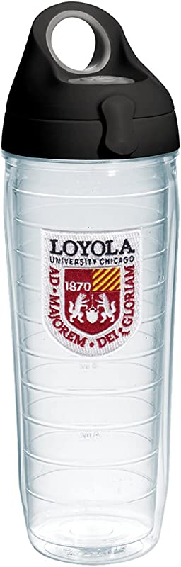 Tervis 1232261 Loyola Ramblers Logo Insulated Tumbler With Emblem And Black With Gray Lid 24oz Water Bottle Clear