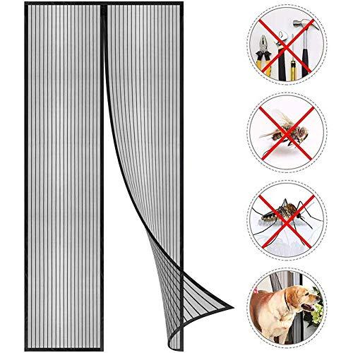 Porta con schermo magnetico, con tenda a rete resistente e telaio intero, facile da installare, tenda a rete, chiusura automatica per tenere fuori gli