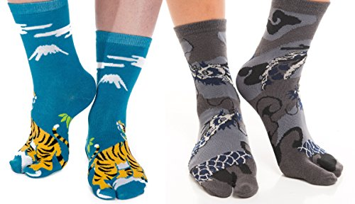 V-Toe Flip Flop Tabi Socks Dragon Solid and Tiger Combo Pack (2 Pairs)