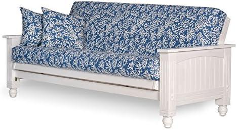 Best Cottage Futon Frame, Queen Size, Satin White Finish, Solid Wood Construction, Coastal Furniture