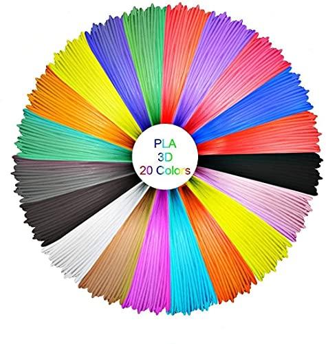 GEEETECH PLA Filament 1.75mm, 3D Pen Filament PLA, pacchetto di linee di stampa 3D con 20 tipi di colori saturi, inclusi 5 tipi di colori fluorescenti.