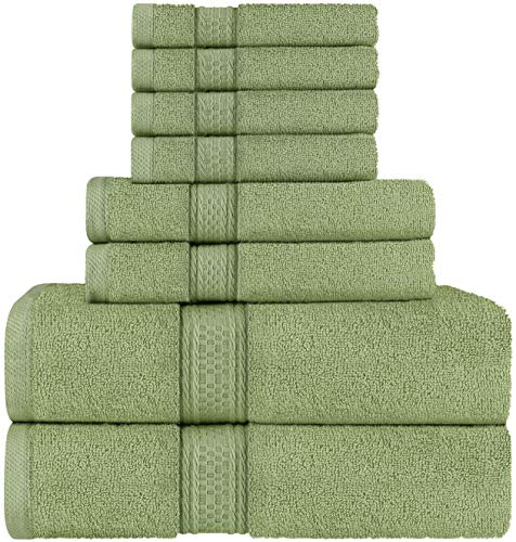 Utopia Towels Sage Green Towel Set, 2 Bath Towels, 2 Hand Towels, and 4 Washcloths, 600 GSM Ring Spun Cotton Highly Absorbent Towels for Bathroom, Shower Towel, (Pack of 8)
