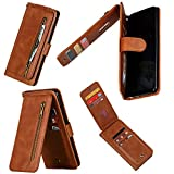 Miagon Cerniera Portafoglio Custodia per Samsung Galaxy Note 10 Lite,Pelle Cover Flip Custodia Antiurto con 9 Slot per Schede Cinturino da Polso Kickstand,Marrone