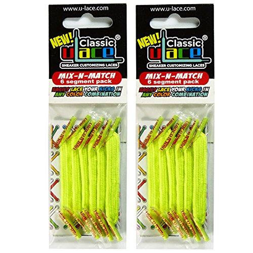 U-LaceSchnürsenkel, elastisch, selbstsichernd, 7bis 77Jahre, für Erwachsene und Kinder, 2 Packungen Gelb neongelb