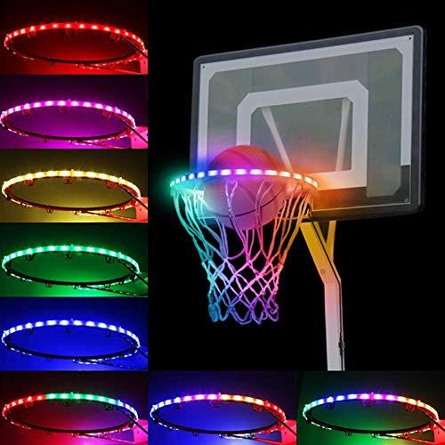 Aro de baloncesto con luz solar, las luces LED impermeables del aro de baloncesto en el flash luminoso, se puede jugar por la noche al aire libre, ideal para niños y adultos