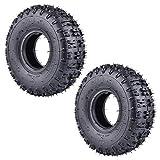 Juego de 2 neumáticos 4,10-4 410-4 4,10/3,50-4, repuesto para cortacésped rotóller, máquina quitanieves manual, camión, carretilla, Go Cart Kid ATV