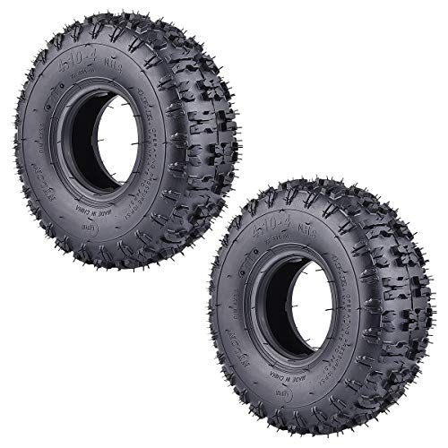 RUTU 2 Pack of 4.10-4 410-4 4.10/3.50-4 Tires Replacement for Garden Rototiller Snow Blower Mowers Hand Truck Wheelbarrow Go Cart Kid ATV
