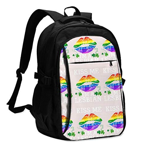 Kiss Me I'm A Lesbian T-Shirt St Patricks Day Lips LGBT Laptop Backpack Daily Lightweight Casual Travel Large Capacity Adult Travel Outdoor Backpack
