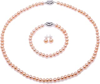 JYX Pearl Necklace Set Classic AA Quality 6-7mm Round Pink Pearl Necklace Bracelet and Earrings Set