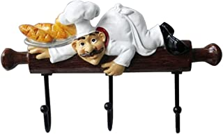 Best KiaoTime Fat Chef Decor Cute Home Kitchen Restaurant Bakery Decorative Chef with Bread Figurine Wall Hooks Oven Gloves/Hat/Cap/Coat/Apron Wall Mount Rack Hook Hanger Review