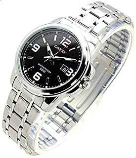 Casio Ladies Black Analog Dial Stainless Steel Band Watch [LTP-1314D-1AV] for Women water resistance