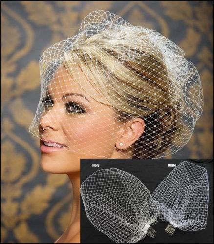 XKMY Bridal Wedding Hat New White Ivory Black Bridal Net Birdcage Veils Charming Wedding Veil Hats Face Veils with Comb UK (Color : White)