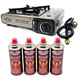 GasOne Propane or Butane Stove GS-3400P Dual Fuel Portable Camping and Backpacking Gas Stove Burner with Carrying Case Great for Emergency Preparedness Kit (Gold) (Stove + 4 Butane Fuel)