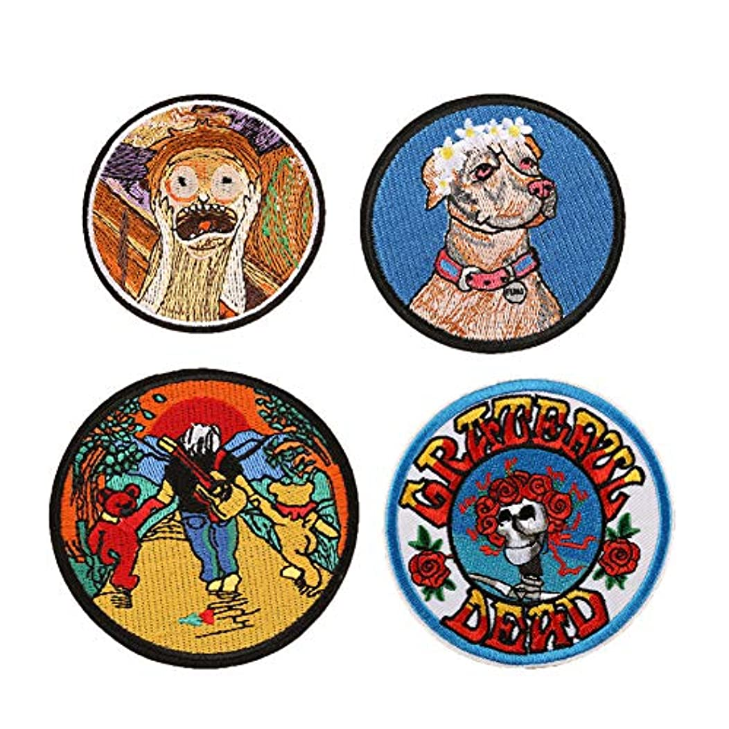 SOUTHYU 4 Pieces Funny Iron On Patches for Jackets - Embroidered Round Shape Decorative Motif Appliques Badge Sew On Emblem for DIY Clothing Jeans Backpack Hat Dress Shoes