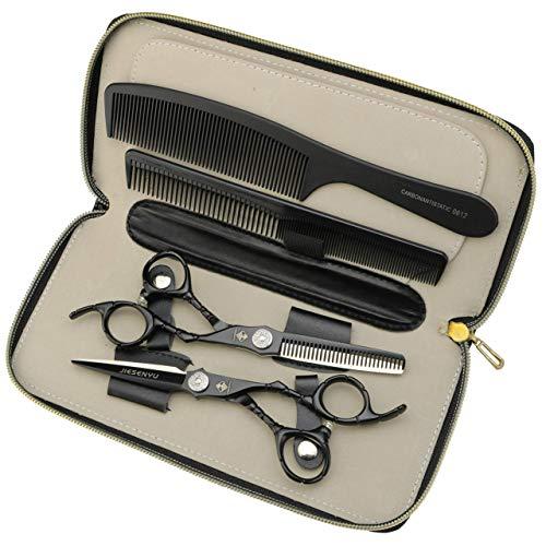 unknow 6-Zoll-Friseurschere Schwarze japanische Stahlschere mit Einstellschraube Professionelle Salon-Ausdünnungsschere (Schneideschere)