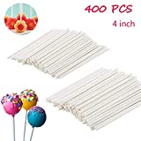 400PCS 4-Inch White Lollipop Sticks Cake Pops Stick for Candy,Chocolate,Cookie,Dessert