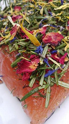 Lachs gebeizt (Graved) mit Rosmarin, Dill und Blütenmix 1.1 kg ✔ Mit frischen Kräutern und Bio Zitrusfrüchen in eigener Manufaktur hergestellt