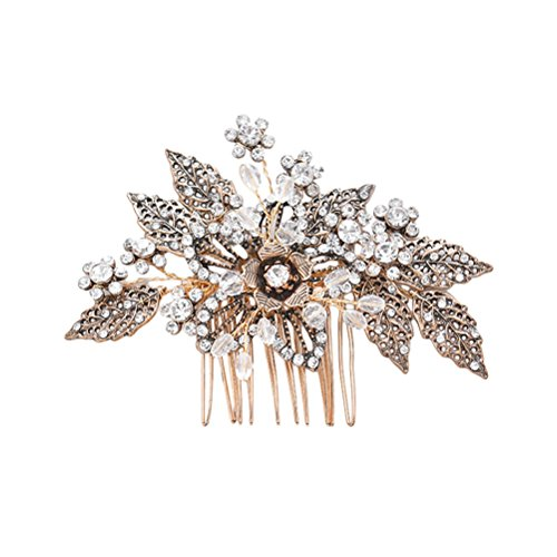 Lurrose Peinetas de novia, accesorios para el pelo de la boda de la flor, hoja de cristal, diamantes de imitación