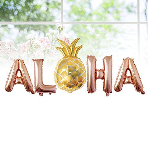 BESTOYARD 3 Sets Hawaiian Party Foil Balloons 16Inch Metallic Mylar Balloon Decorations Aloha Party Favors Supplies (Rose Gold)