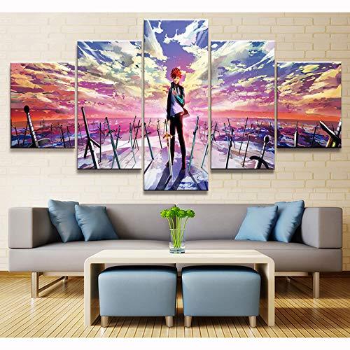 WMWSH 5 Piezas sobre Lienzo Imagen Chico Anime Wall Art...