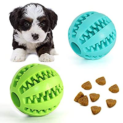 Dog Toy Ball, Chew Toys for Dogs Bite Resistant Rubber Ball Treat Toy Dog Pet Food Treat Feeder Chew Tooth Cleaning Ball (S-5CM)