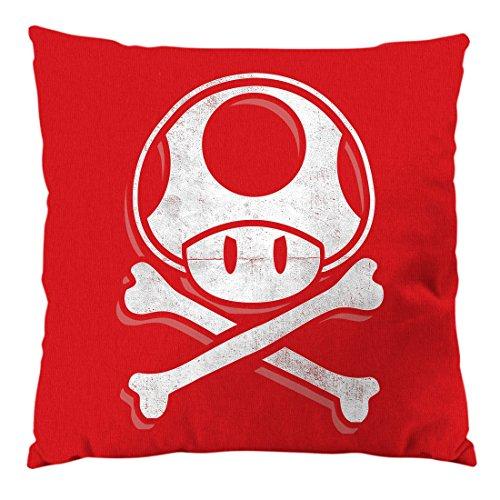 A.N.T. Another Nerd T-Shirt A.N.T. Toadskull Cuscino con Imbottitura e Fodera in Cotone, Circa 28 x 28 cm Mario Console Videogioco Console Super World, Colore:Rosso