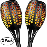 Sunlitec Solar Lights, Waterproof Flickering Flames Torches Lights Outdoor Landscape Decoration Lighting Dusk to Dawn Auto On/Off Security Torch Light for Garden Patio Deck Yard Driveway, 2 Pack