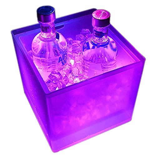 Secchiello per ghiaccio con LED da 3,5 l, per bottiglie, secchiello per ghiaccio con cambio di colore automatico, per feste, case, bar, club, restauranti a tema, può congelare vino rosso, succo, birra